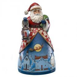 Santa With Night Village Scene Figurine