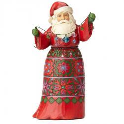 Musical Santa with Crystal Garland Figurine