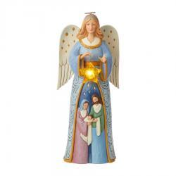 Angel Statue with Nativity Figurine