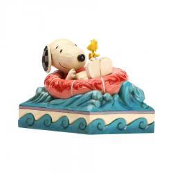 Signed Jim Shore Peanuts Snoopy and Woodstock in Floatie Figurine