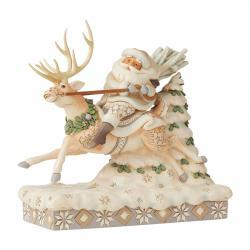 Signed Jim Shore Woodland Santa Riding Reindeer Figurine
